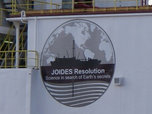This logo on the port and starboard side of the JOIDES Resolution says it all; we are beginning our journey as ocean detectives hoping to uncover the earth's mysteries preserved in the ocean's floor.