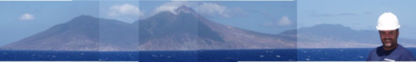 The island of Montserrat, showing the Soufriere Hills volcano.