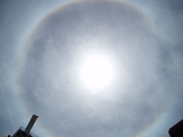 Image of cirrus clouds appearing to circle around the sun.