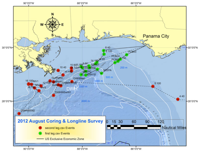 2012 August Coring and Longline Survey in the Gulf of Mexico